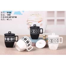 Korte geometrie Black and White Tea Cup