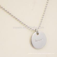 Grabado Logotipo de la letra de acero inoxidable Plain plata collar colgante redondo