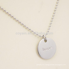 Engraved Letter Logo Stainless Steel Plain Silver Round Pendant Necklace