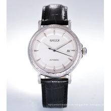 Baijia Day Date Mechanical Men's Watch com faixa de couro