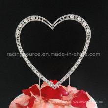Qualitäts-Hochzeits-Kuchen-Oberteil-Weinlese-Rhinestone-einzelnes Herz