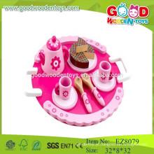 Conjunto de chá de madeira brinquedos para crianças conjunto de chá fingir jogar brinquedos conjunto de chá