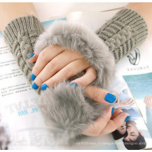 Lady Fashion Warm Fur Fingerless Gloves (MU2604)