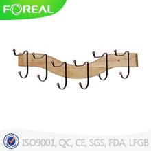 Wooden 6 Hooks Towel Clothes Hanging Wall Mounted Clasp