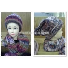 Invierno / otoño gradiente de color acrílico conjunto de sombrero y bufanda