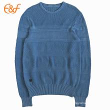 Patrón de jersey azul de punto de algodón para hombres