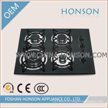 Venda quente 4 Queimadores de vidro temperado Infravermelho Gás Hob