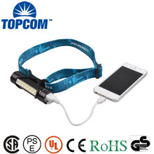 Lanterna elétrica e farol do banco do poder do carregador do USB