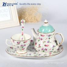 Hot Sale Romantic Flower Pattern Ceramic Makeup Tea Cup And Saucer Sets