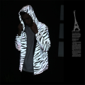 Print fashion hip hop reflective hoodie jacket