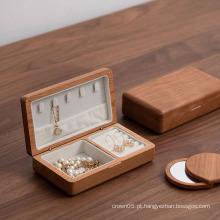 Caixa de joias de madeira argolas pulseira pulseira de veludo