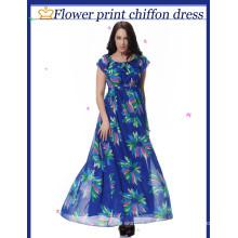 Große Yards Chiffon Druck geändert Kleid Strandkleid
