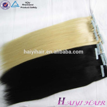 Christmas Hot Selling light pink Blue Tape hair extensions human hair wavy
