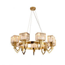 Home Rustic Iron Chain Hanging Ceiling Lamp Rectangular Crystal Pendant Chandelier