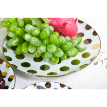 White With Gold Polka Dot Plates Sets
