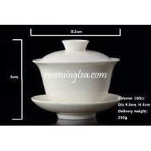 Porcelaine blanche Gaiwan, Pu Er, thé Jasmine, 160 cc / Gaiwan