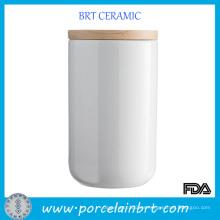 Tarro de cerámica de cerámica blanco tarro velas altas
