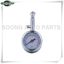 Caudal baixo Dial Metal Tire Gauge com válvula de liberação de ar de chapeamento de cromo