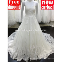 2016 Glamorous A-line Sweetheart Neckline Strapless Floor-Length Lace Cheap Custom Made Wedding Dresses White Bridal Dress H108