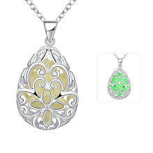 Water Shape Carved Flower Light Necklace Water Pendnat Silver Plated Women Necklace