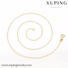 42614- Xuping Simple Design Women Fashion Gold Thin Chain Bead Collares