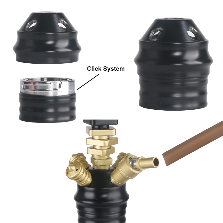 Black Gold color zink alloy Egypt style hookah