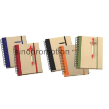 Mini Spiral Hard Cover Recycled Notebook with Ball Pen