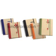 Capa dura espiral mini reciclado caderno com caneta