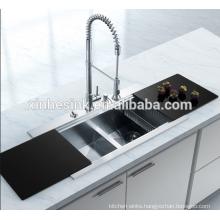 Handmade Zero Radius square Stainless Steel SUS 304 Gauge 18/8 double bowl kitchen Sink
