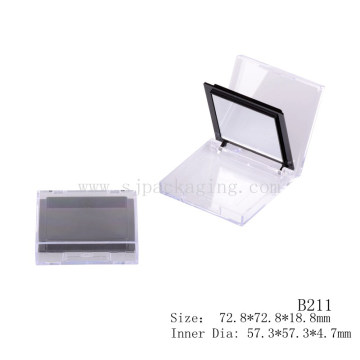 Empty Square Clear Color Compact Powder Case With Mirror