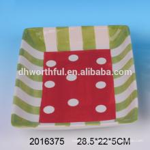 Plato cuadrado de caramelos de cerámica, placas de cerámica de Navidad para 2016 fiesta de Navidad