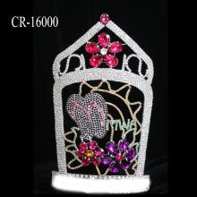 "14"" Rhinestone Flower Cute Slippers Pageant Crown"