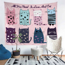 3D Printed Cat Pattern Tapestry, Apply to Home Decoration