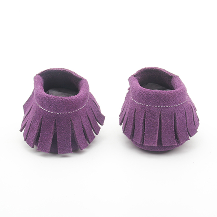 Purple Suede Leather Safe Shoes Wholesale Baby Moccasins