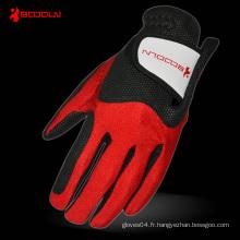 Gant de golf PU avec lycra rouge pour les ventes (2500)