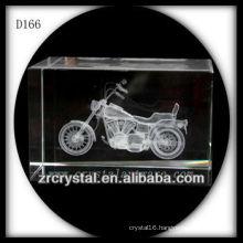 K9 3D Laser Etched Motorcycle Inside Crystal Rectangle