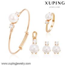 64239 Xuping gros charmes plaqué or bijoux en perles ensemble pour bébé