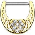 Paved Clear CZ Corazón Centro 316L acero inoxidable Eje Oro IP sobre Latón Cuerpo Nipple Clicker Ring