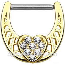 Асфальтовый Clear CZ Heart Center 316L нержавеющая сталь Вал Золото IP над латунным кольцом для ниппеля для тела