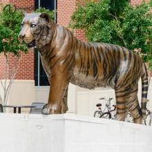 Decoração do jardim de alta qualidade em tamanho real estátua de bronze tigre de bengala