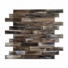 Long Strip Dark Brown Glossy Tiles Mosaic Glass Mosaic for Bathroom Decoration