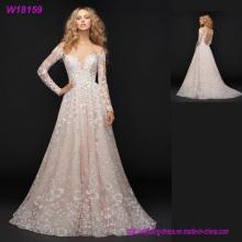 Gemacht in China-Rosa-edle Hochzeits-Kleider China-Lieferant-lange Hülsen-Spitze-Hochzeits-Kleider