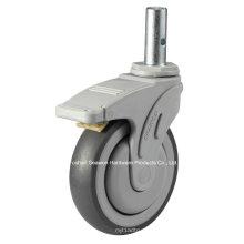 Medical Caster Stem with Brake Type TPR Caster