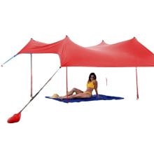 Sun Shade Canopy | UPF50 UV Protection Tent with 4 Aluminum Poles, 4 Pole Anchors, 4 Sandbag Anchors Family Beach Sunshade