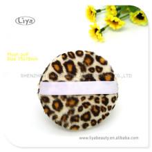 New Popular Leopard Facial Puff White Satin