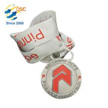Medallas de encargo de encargo de la competencia de la cinta del cuello de medalla de encargo barata personalizada
