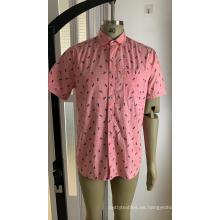 Camisa de manga corta estampada 100% algodón para hombre