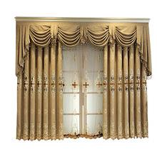 Home made blackout fabric luxury living room curtain ready made curtain double layer curtain
