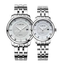 Calendario Japón movt 5atm, 10atm resistente al agua todos los relojes sólidos de acero inoxidable para pareja