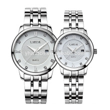 Calendar japan movt 5atm,10atm water resistant all solid stainless steel watches for couple